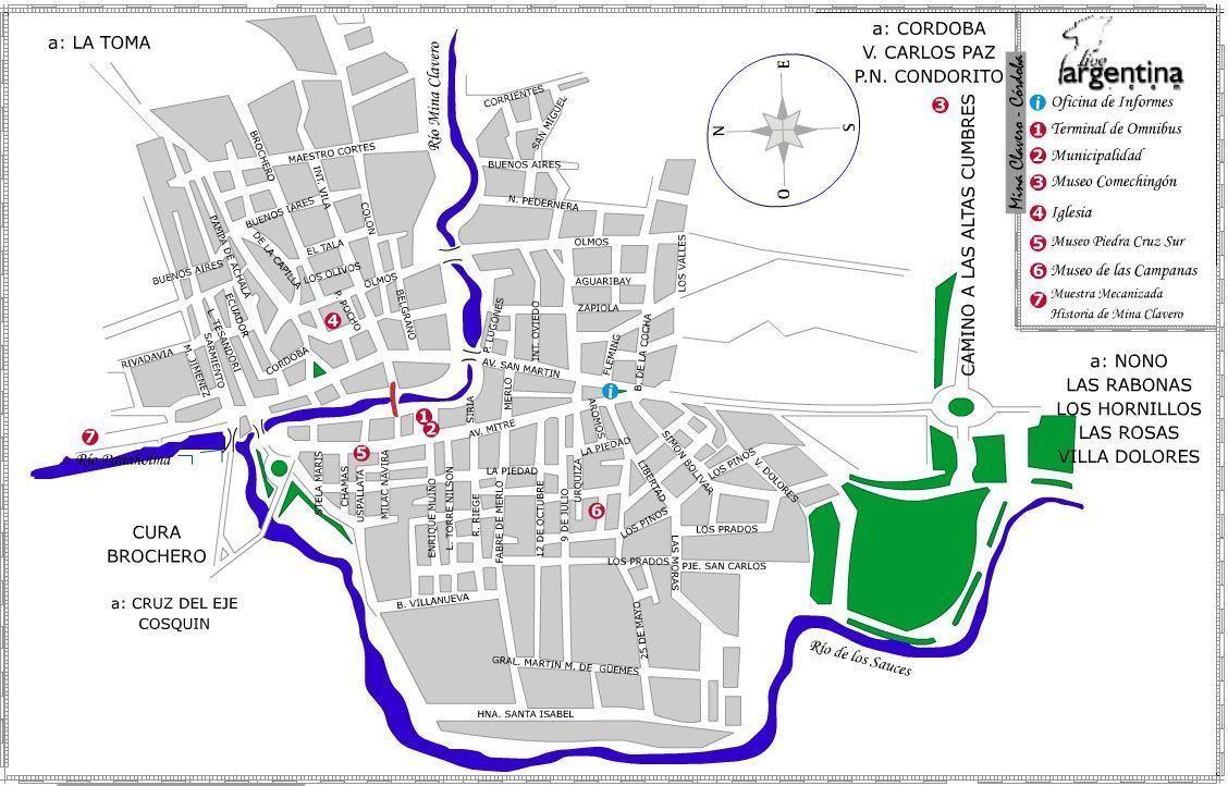 Mapa de Mina Clavero